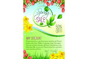 Spring holiday sale vector floral poster