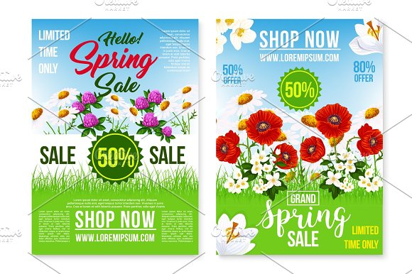Spring Holiday Sale Vector Posters Web Templates