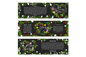 Vector greeting banners of spring season flowers