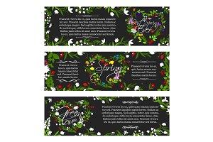 Vector greeting banners of spring season flowers