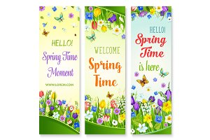 Vector spring flowers banners with greeting quotes