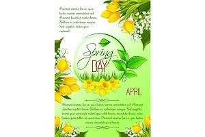Spring day greeting poster vector tulip flowers