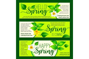 Happy Spring vector springtime flowers banners