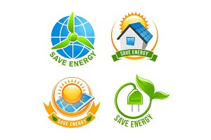 Save energy, solar, wind, eco power symbol set