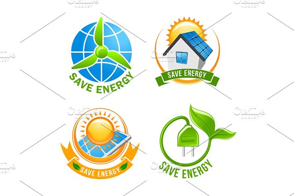 Save energy, solar, wind, eco power symbol set