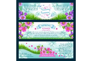 Spring season greetings vector banners
