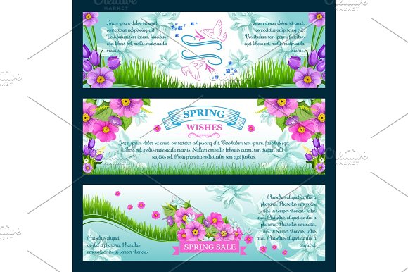 Spring season greetings vector banners