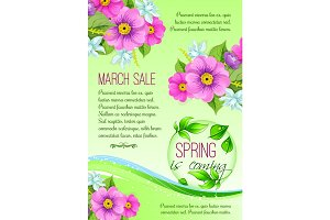 Spring sale poster of pink flowers