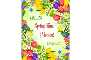 Vector Spring greeting card with flowers bunch