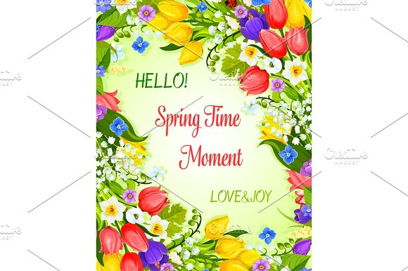 Vector Spring greeting card with flowers bunch in Graphics