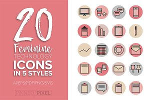 Feminine Technology Icons
