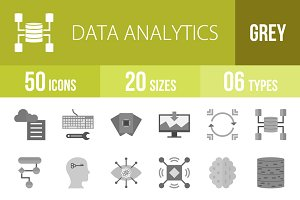 50 Data Analytics Greyscale Icons