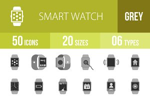 50 Smart Watch Greyscale Icons