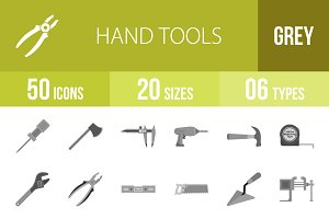 50 Hand Tools Greyscale Icons