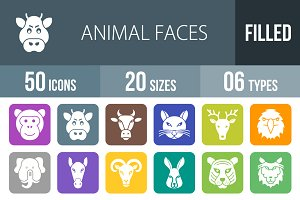 50 Animal Faces Round Corner Icons
