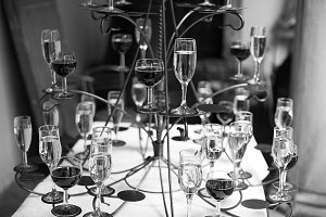 Glasses with wine and champagne