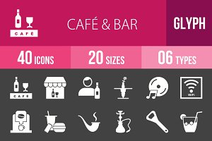 40 Cafe & Bar Glyph Inverted Icons