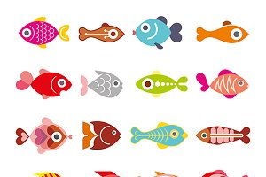 Fish vector icon set