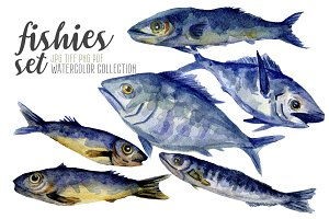 Watercolor fishes set hand painted