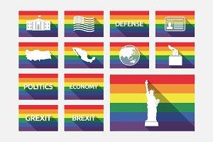 Gay Pride Flags Politics Set 01