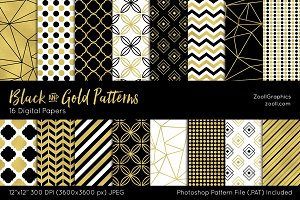 Black And Gold Digital Papers