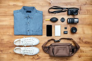 Travel concept shirt, camera, mobilephone, bag, mp3, boots,