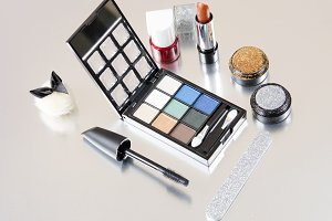Makeup kit still life