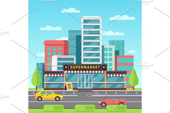 Market Exterior Supermarket Building Grocery Store In Modern Cityscape With Mall Parking Vector Illustration