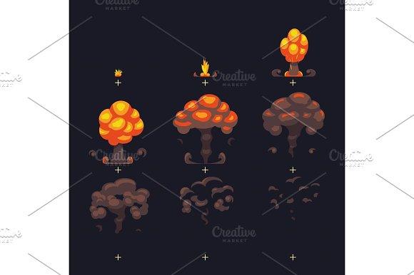 Stock Vector Cartoon Explosion Effect With Smoke Effect – Fondos de