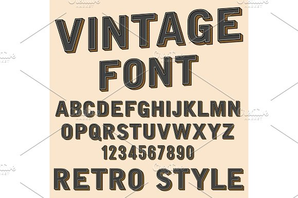 Retro 3D Alphabet And Number Sign Old Typography Style Vector Cartoon Font Letters