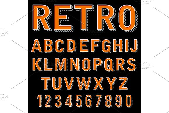 Vintage 3 Dimensional Typeset Retro Font Vector Letters And Numbers Decorative Type Cartoon Alphabet