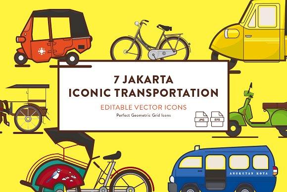 Jakarta Iconic Transportation Icons