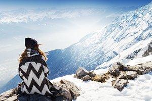 Travel Concept.Hipster Girl Mountain