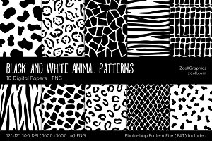 Black & White Animal Digital Papers