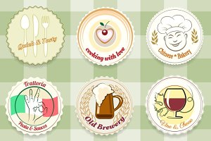 Retro Cafes and Restaurants Labels