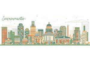 Abstract Sacramento Skyline