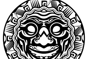 Smiling Face Polynesian Tattoo
