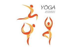 Yoga asanas icons set