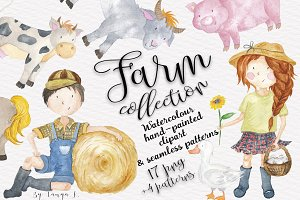 Farm Animals Watercolor kids