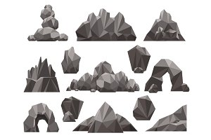 Cartoon 3d rock and stone set