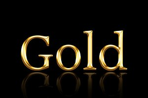 Gold text on black