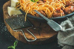 Italian pasta dinner with spaghetti