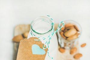 Fresh dairy-free almond milk