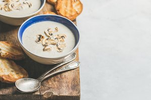 Dinner with creamy mushroom soup
