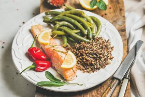 Healthy protein rich dinner plate