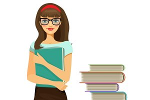 young girl student and stacked books