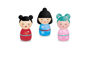 Cute japanese kokeshi dolls. eps+png