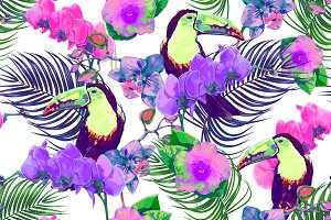Tropical flowers,toucans pattern