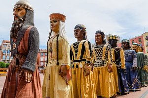 Giants in a parade. Spain festivity