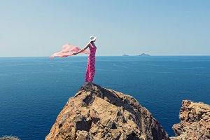 Woman in a long summer dress